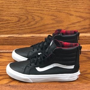 Vans SK8-Hi Slim Zip Plaid Flannel Black White